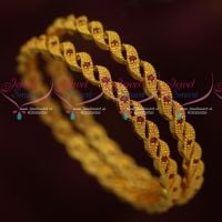 Ruby Stones Low Price South Indian Gold Covering Bangles AD Jewellery