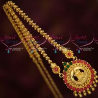 Gold Covering Chain Pendant Temple Jewellery Latest South Indian Designs