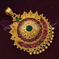 Single Hook Gold Plated Pendant South Indian Imitation Jewellery Designs