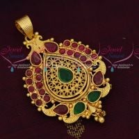 Single Hook Gold Plated Pendant South Indian Covering Jewellery Designs