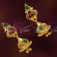 Small Size AD Stones Gold Covering Jhumka Daily Wear Imitation Jewelry Online