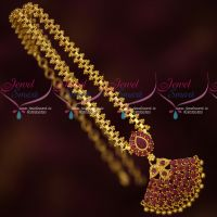Daily Wear Stylish Jewellery Gold Plated Chain Pendant Ruby AD Stones