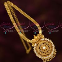 South Indian Gold Plated Jewellery AD White Stones Chain Pendant Traditional Designs
