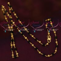 Daily Wear Gold Plated Crystal Black Beads Chain 24 Inches Online