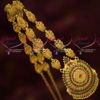 Latest Imitation Gold Covering Fancy Haram Ruby Emerald AD Stones Designs