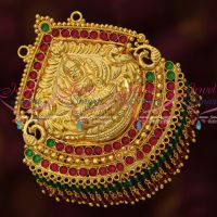 Temple Broad Big Light Weight Nakshi Gold Plated Pendant Real Kemp Crystal Hangings Online