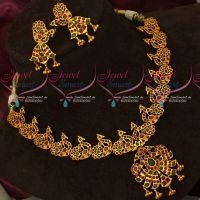Gold Design Ruby Emerald AD Fashion Jewellery Necklace Set Online