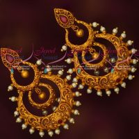 Trendy Multi Layer Chandbali Earrings Matte Reddish Gold Plated Ruby Stones
