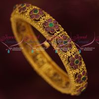 Antique Gold Finish Jewellery AD Stones Floral Kada Screw Open Imitation