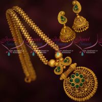 Beautiful Floral Design Chain Pendant Jhumka Antique Jewellery AD Emerald Stones