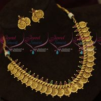 South Indian Antique Temple Jewellery Coin Necklace Intricately Designed