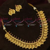 South Indian Antique Kasulaperu Imitation Jewellery Coin Necklace Intricately Designed