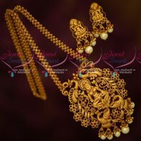 Ghajiri Chain Matte Gold Plated Big Temple Pendant Matching Earrings Latest Traditional Jewellery