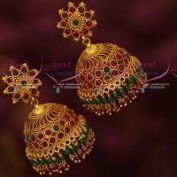 Big Broad Heavy Kemp Jhumka Earrings Latest Matte Finish Collections Online