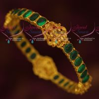 Temple Jewellery Real Kemp Green Single Piece Bangles Gold Look Designs Online