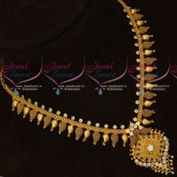 White AD Stones Short Mango Mala Daily Wear Gold Covering Jewellery