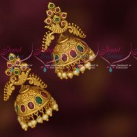 Ruby Emerald AD Jhumka Earrings Latest Fashion Jewellery Designs Online