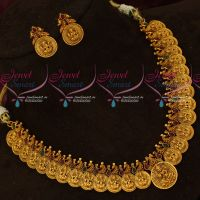 Gold Finish Imitation Jewellery Intricately Designed Nagas Coin Necklace