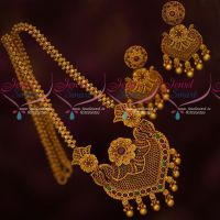 AD Stones Jewellery Premium Finish Antique Matte Gold Plated Chain Pendant Set Online
