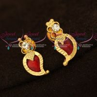 Kerala Design Jewellery Small Size Screwback Mango Red Palakka Earrings Buy Online Gold Plated