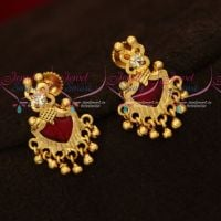 Kerala Style Red Palakka Earrings Golden Bead Drops Screwback South Indian