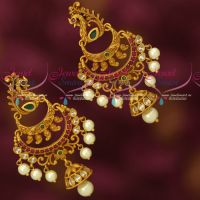 Stylish Imitation Jewellery Matte Gold Plated Peacock Chandbali Earrings Online