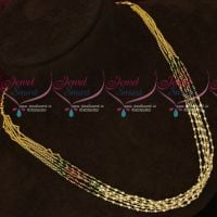 Multi Strand Copper Chain Pearl Mala Red Green Glass Beads Combined Jewellery