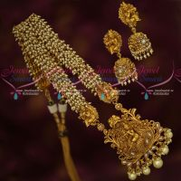 Pearl Danglers Haram Lord Krishna Floral Design Pendant Matching Jhumka Earrings