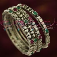 Antique Blackish Silver Plated Jewellery 4 Pcs Set Pearl AD Stones Bangles