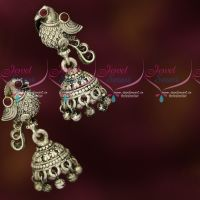 Antique Oxidised Silver Plated Peacock Small Jhumka Earrings Imitation Jewellery Online