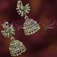 Stylish Silver Oxidised Finish Jhumka Earrings Latest Artificial Jewellery