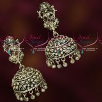 Antique Oxidised Silver Plated Temple Jhumka Earrings Imitation Jewellery Online