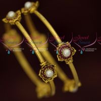 Antique Gold Plated Ruby Pearl Floral Design Fancy Bangles Fashion Jewelry Online