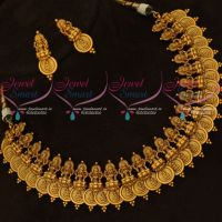 Traditional Temple Jewellery Laxmi God Engraved Coin Necklace Latest Designs