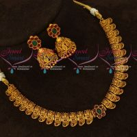 Temple Jewellery Mango Design Laxmi God Engraved Design Matching Jhumka Earrings Online