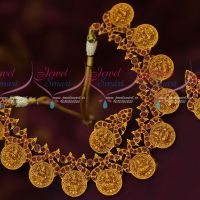 South Indian Traditional Ruby Stones Temple Broad Necklace Set Gold Inspired Designs