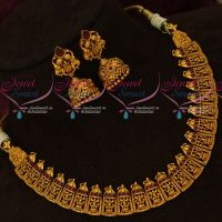 Gold Inspired Artificial Temple Necklace Jewellery Latest Designs Matte Finish Shop Online