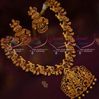 Temple Jewellery Matte Reddish Gold Plated Bird Design Floral Necklace Set