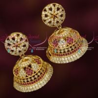 Big Broad Bell Shape Jhumka Ruby White Stones Light Gold Plated Jewellery Online