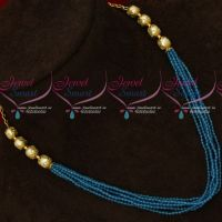 6 Strand Blue Colour 2 MM Crystal Mala Handmade Jewellery Designs Online
