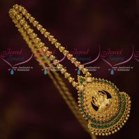 South Indian Jewellery Gold Covering Temple AD Green Stones Chain Pendant ONline
