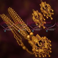 Gold Jewellery Inspired Design Beads Mala Lord Ganapathy Pendant Matching Earrings Online
