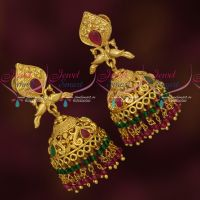 Crystal Beads Danglers Gold Design South Indian Screwback Jhumka Latest Jewellery Online
