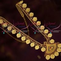 Gold Plated Coin Temple Haram Ruby AD Stones Jewellery Online