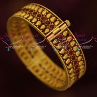 Mango Design Kemp Screw Open Single Piece Kada Bangles Antique Gold Plated Jewellery