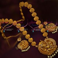Temple Jewellery Lord Vinayagar Ganapathy Haram Matte Gold Plated Antique Designs