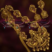 Lord Krishna Antique Gold Plated Kemp Temple Jewellery Necklace Set Online