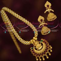 Handmade Pearl Chain Temple Pendant Matching Jhumka South Indian Gold Covering Jewellery Online