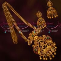 Ghajiri Chain Matte Gold Plated Traditional Temple Jewellery Pendant Earrings