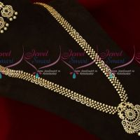 AD Emerald Green White Stones Sparkling Jewellery Long Necklace Traditional Designs Online